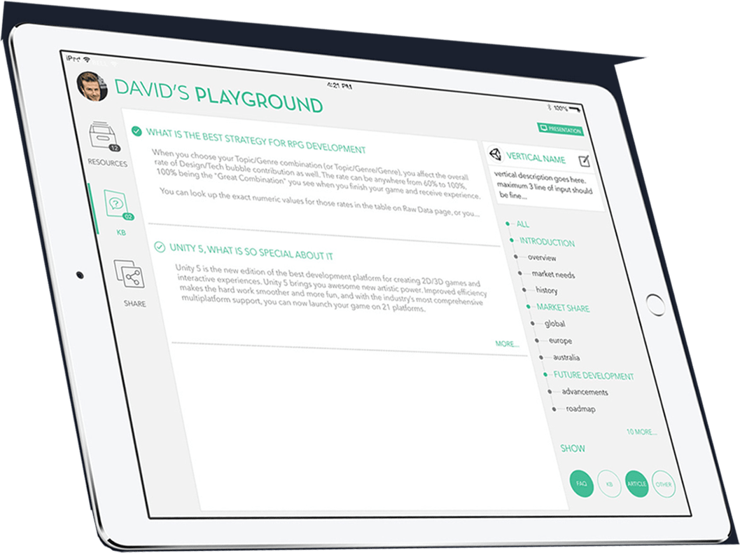 PLAYGROUND, Sales enablement app, Apple iOS, Android, Web