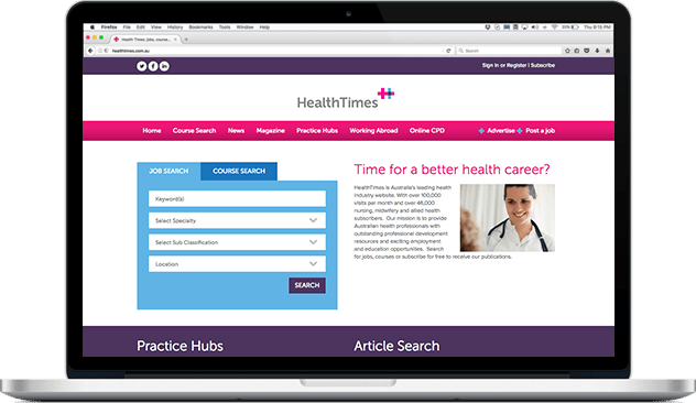 Web UI design for HealthTimes
